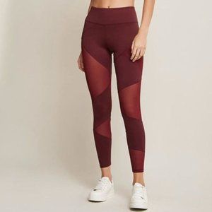 Forever 21 maroon mesh cutout leggings, tights